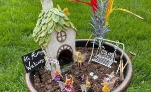 Picture of a fairy garden as part of the spring kids activities blog series.